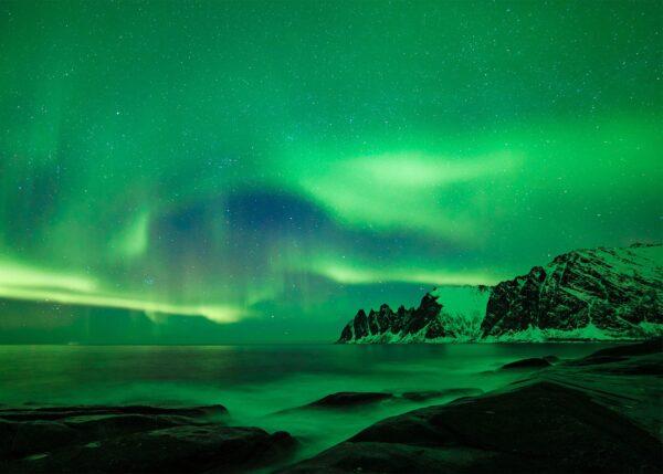 Nordlys på Senja I, fotokunst veggbilde / plakat av Bård Basberg