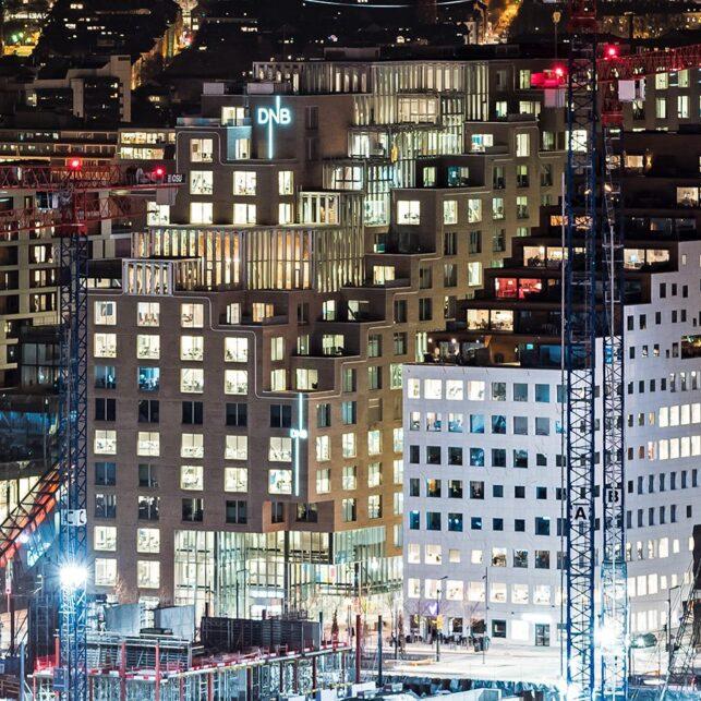 Bjørvika Oslo by night I, fotokunst veggbilde / plakat av Erling Maartmann-Moe