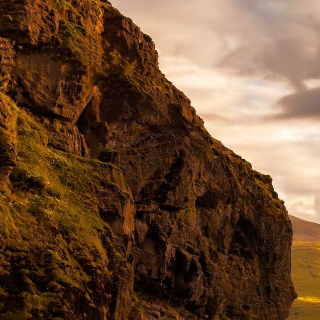 Soloppgang ved flotte Skogafoss., fotokunst veggbilde / plakat av Eirik Sørstrømmen
