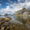 Fantastiske fjellformasjoner i Lofoten., fotokunst veggbilde / plakat av Eirik Sørstrømmen