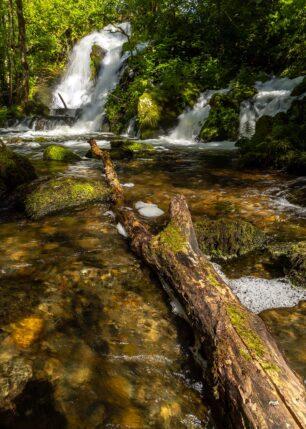 En tømmerstokk i vannet med en foss i bakgrunnen., fotokunst veggbilde / plakat av Eirik Sørstrømmen