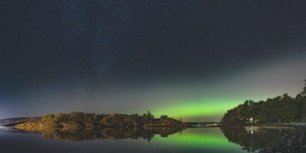 Nordlys over Oslofjorden, fotokunst veggbilde / plakat av Gunnar Kopperud
