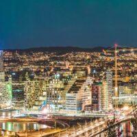 Oslo nordlys panorama, fotokunst veggbilde / plakat av Gunnar Kopperud