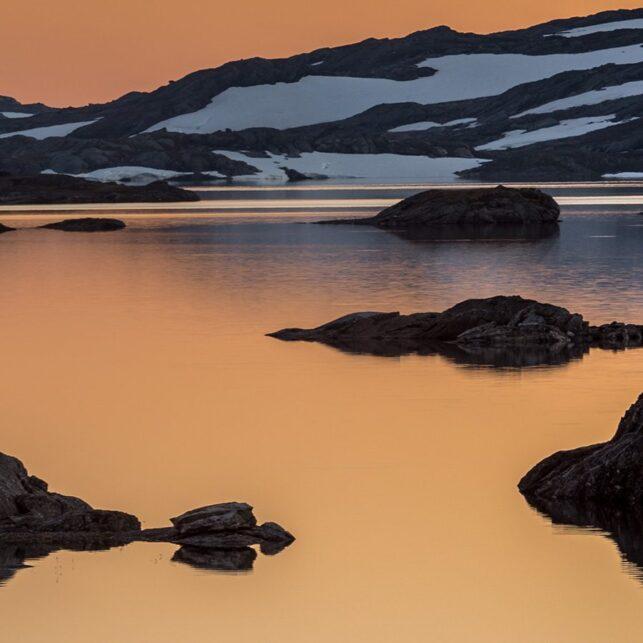 Solnedgang ved Store Vargevatnet, fotokunst veggbilde / plakat av Kåre Johansen