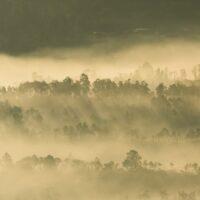 Sola trenger gjennom tåketeppet, fotokunst veggbilde / plakat av Kjell Erik Moseid