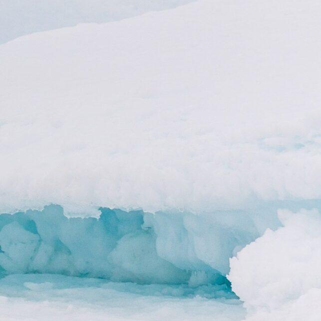 En isbjørn klatrer opp på en isblokk for å få bedre oversikt når den speider etter sel i pakkisen, fotokunst veggbilde / plakat av Kjell Erik Moseid