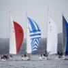Fire av de raskeste båtene like etter starten i Træna Ocean Race., fotokunst veggbilde / plakat av Kjell Erik Reinhardtsen