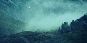 Fossefall i de frodige dalsidene i Nærøyfjorden, fotokunst veggbilde / plakat av Eirik Sørstrømmen