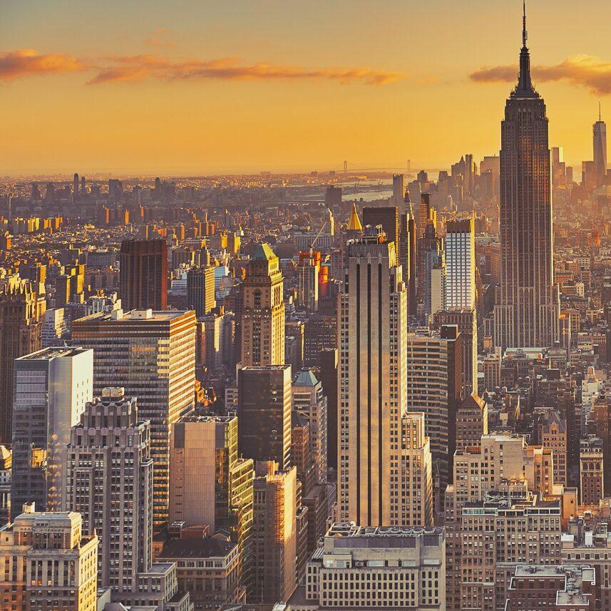 Manhattan vakker solnedgang, fotokunst veggbilde / plakat av Peder Aaserud Eikeland