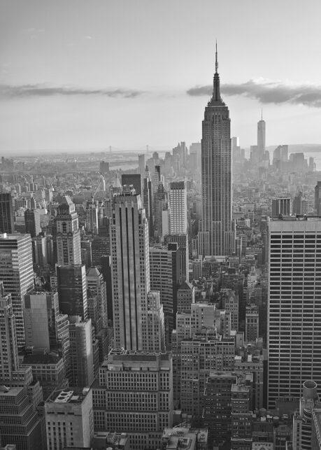 Empire State Building solnedgang sort-hvitt av Peder Aaserud Eikeland