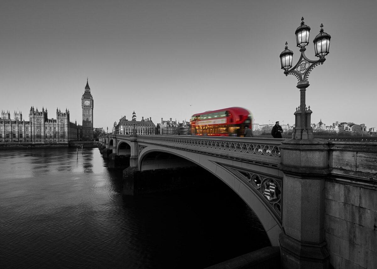 Dobbeltdekker over Westminister bridge, fotokunst veggbilde / plakat av Peder Aaserud Eikeland