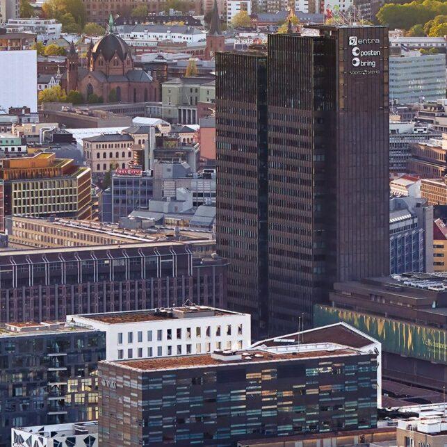 Bjørvika fugleperspektiv, fotokunst veggbilde / plakat av Peder Aaserud Eikeland