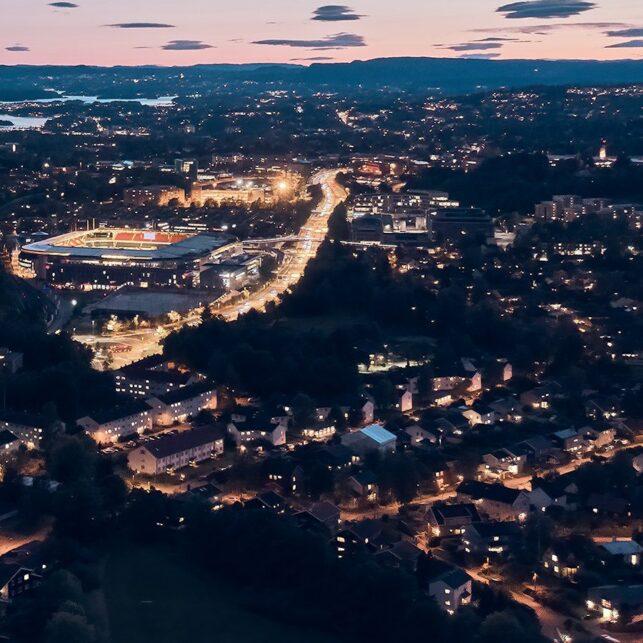 Ullevål stadion by night, fotokunst veggbilde / plakat av Peder Aaserud Eikeland