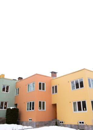 Pastellfargede hus i Industrigata i Oslo, fotokunst veggbilde / plakat av Tor Arne Hotvedt