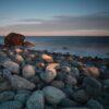 Rullesteiner på Mølen i solnedgang, fotokunst veggbilde / plakat av Tor Arne Hotvedt