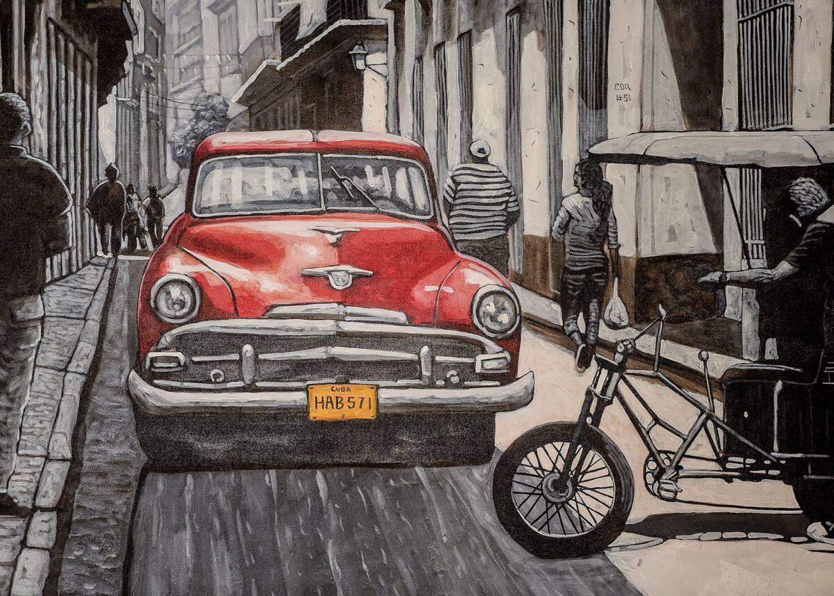 Gatekunst - Ford/Mercury i Havanna, fotokunst veggbilde / plakat av Terje Kolaas