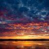 Solnedgang ved Trondheimsfjorden, fotokunst veggbilde / plakat av Terje Kolaas