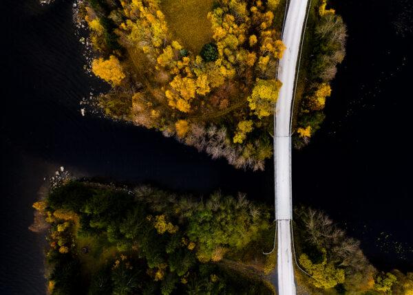En bro gjennom høsten, fotokunst veggbilde / plakat av Terje Kolaas