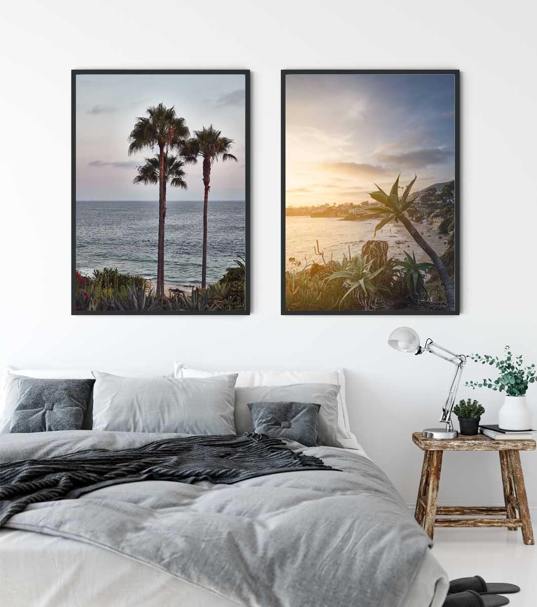 To bilder fra California på en soveromsvegg